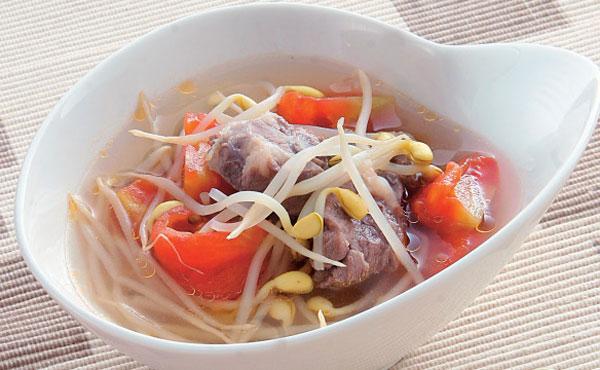 省番茄加盟-黄豆芽排骨排骨汤(4人份)-时节-康健红烧食谱饭料理图片
