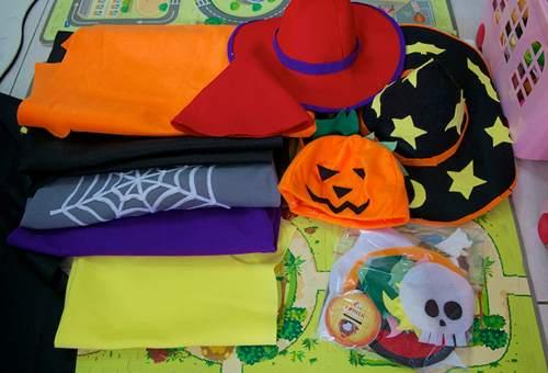 各种颜色的不织布,万圣节代表色为橘色