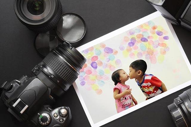 【宅。親子美學】結合照片的創意指印畫
